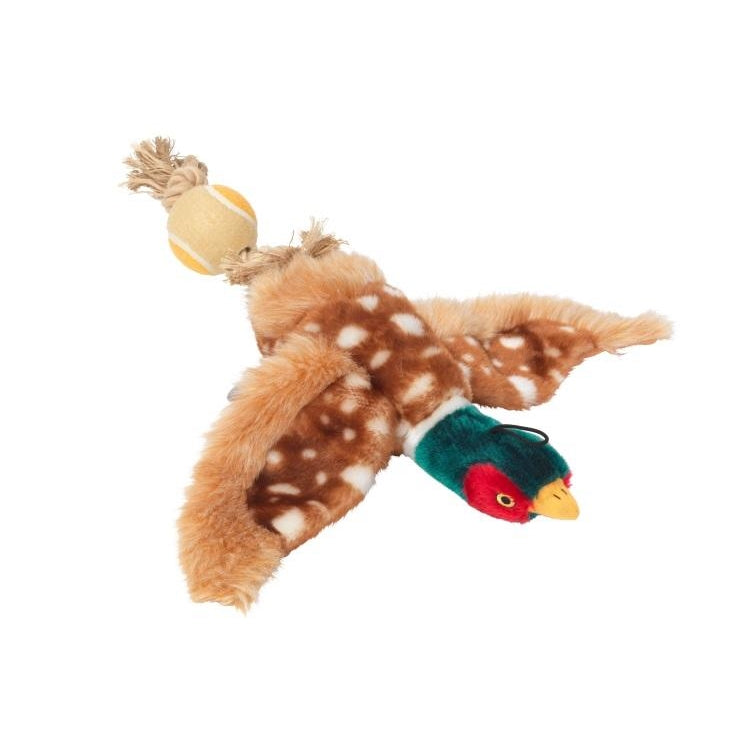 House of Paws Pheasant Dog Toy With Rope Tail and Tennis Ball