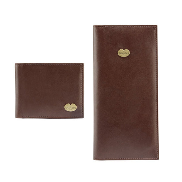 Le Chameau Bifold Wallet & License Wallet Gift Set - Dark Brown