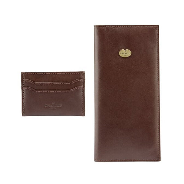 Le Chameau Card Wallet & License Wallet Gift Set - Dark Brown
