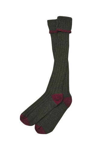 Barbour Contrast Hunting Stockings - Olive/Cranberry