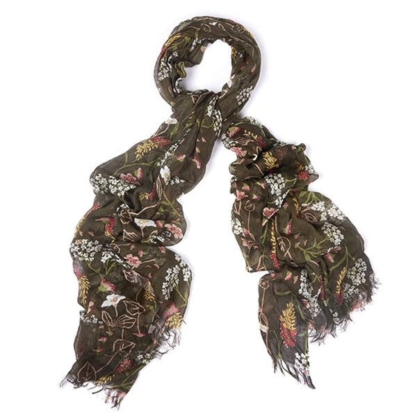 Barbour Ladies Floral Bloom Wrap - Olive