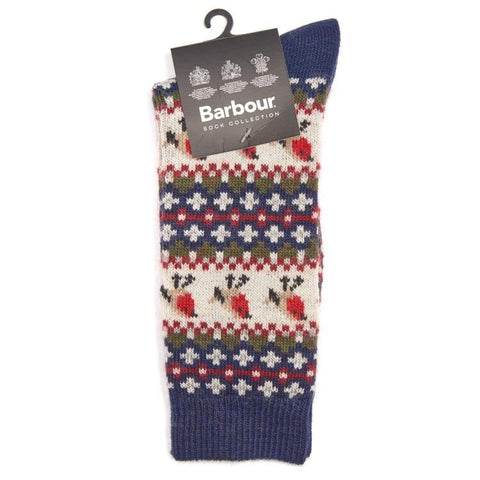 Barbour Ladies Robin Fairisle Socks - Navy