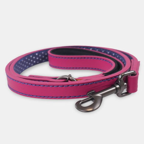 Joules Leather Dog Lead - Fuschia