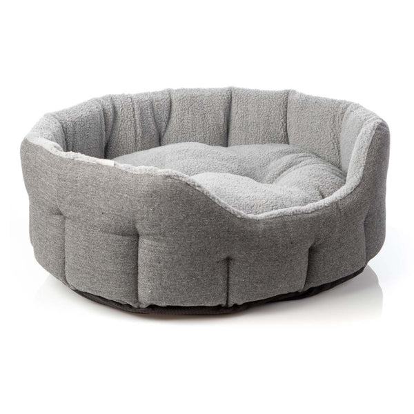 House of Paws Grey Herringbone Tweed Oval Snuggle Dog Bed