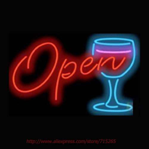 Wine Glass OPEN  Neon Sign Neon 17x14 - Shop ID Vin
