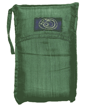 green silk sleeping bag