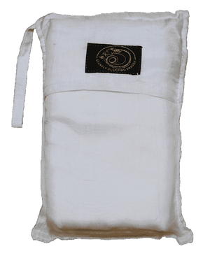 white silk sleeping bag