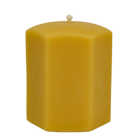 BEESWAX CANDLE - Hexagon Pillar - Short
