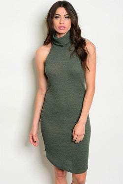 Olive Turtle Bodycon Dress