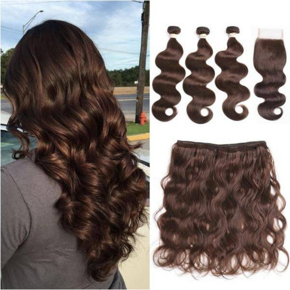 Copie de 3 *1 paquets Body wave + 1*1 Closure 100% Cheveux Brésilien