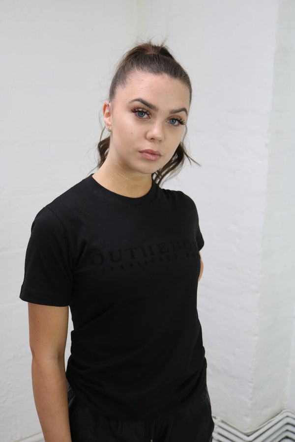 Black Velour Printed Luxe Tee