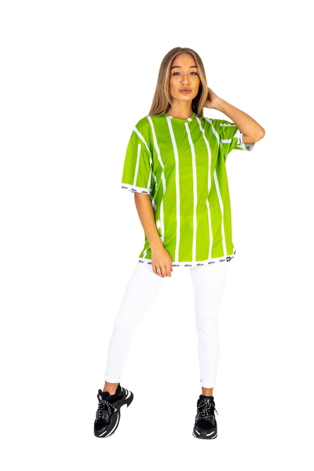 Womens Lime Green Stripe Tee