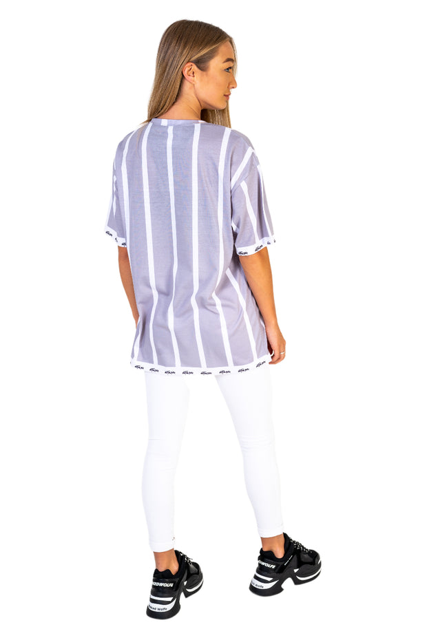 Women's Light Grey Stripe Tee