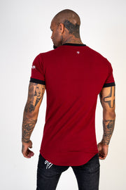 Red Panel Curved Tee