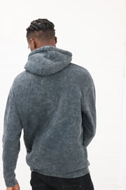 Acid Wash Grey Fitted Hoodie