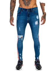 Bold Stripe Destroyed Skinny – Stretch Denim