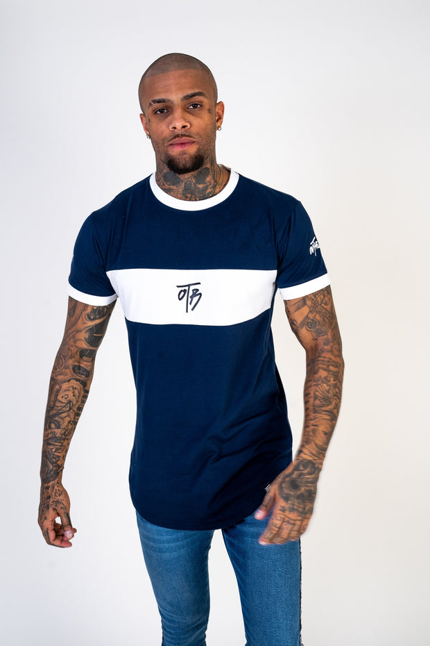 Navy Panel Curved Tee