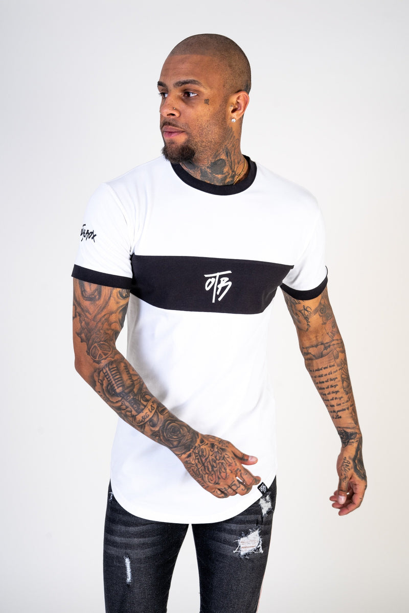 White Panel Curved Tee