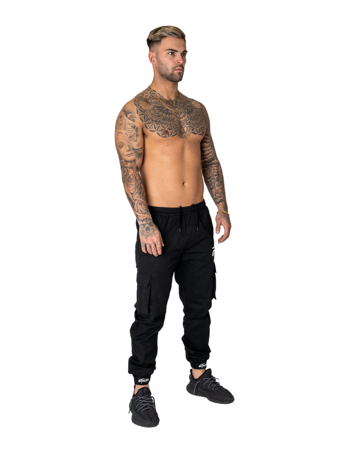 Jet Black Cargo Trousers