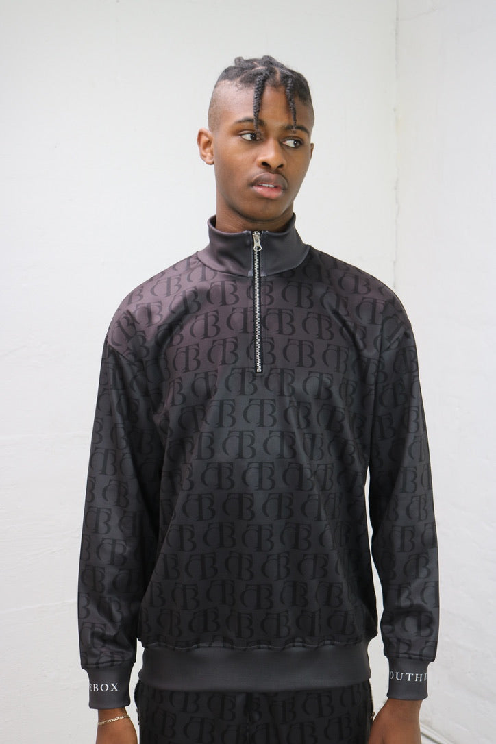 Black Echo Funnel Neck 1/4 Zip