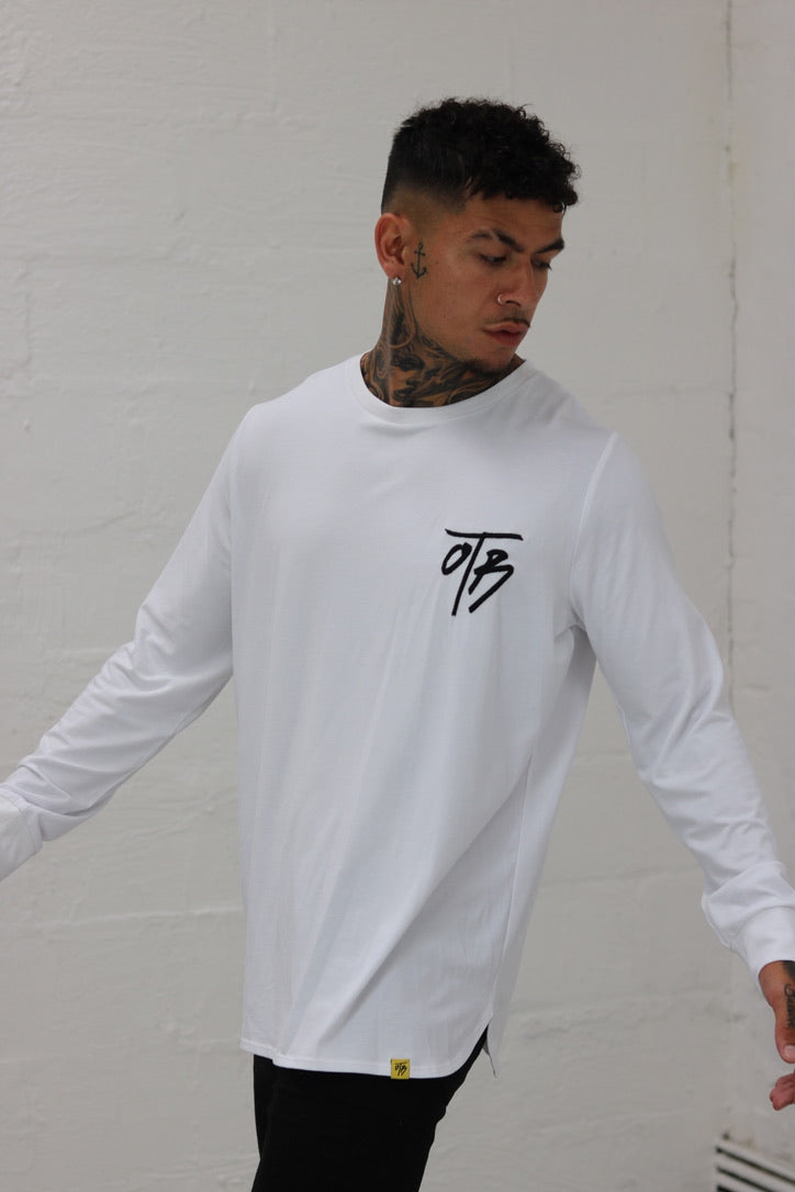 White Curved Crew Neck