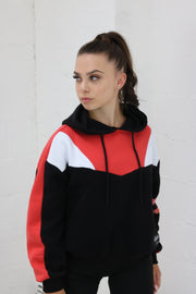 Red Panel Retro Hoodie