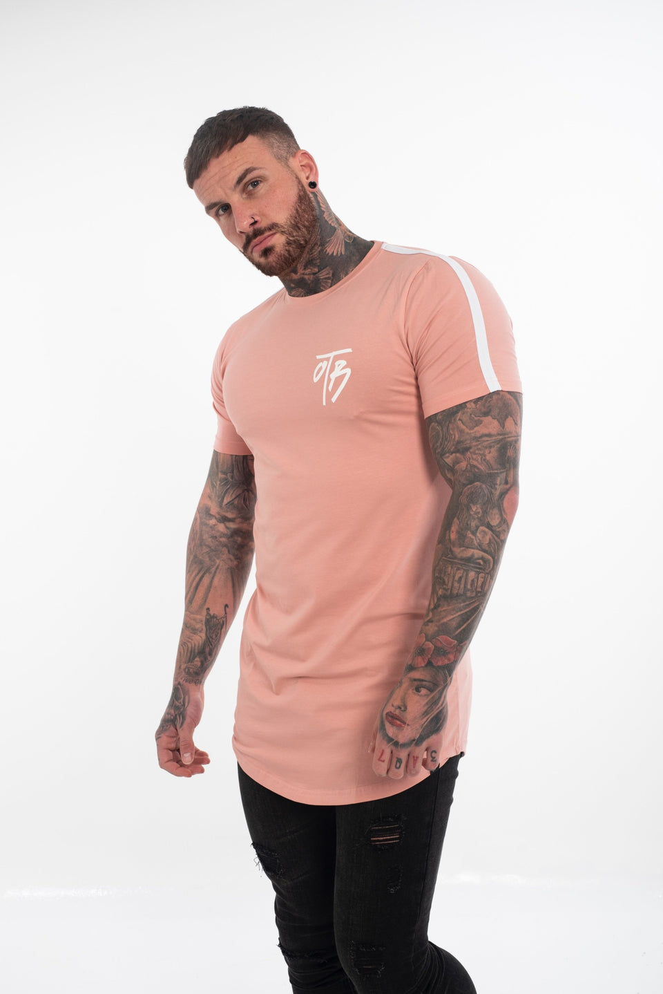 Salmon Pink Curved Tee
