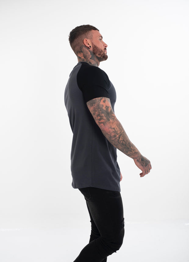 Black on Black Raglan Curved T-shirt