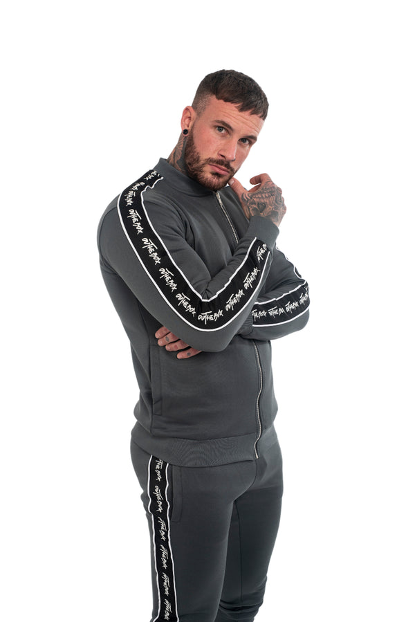 Steel Grey Script Poly Tracksuit Jacket
