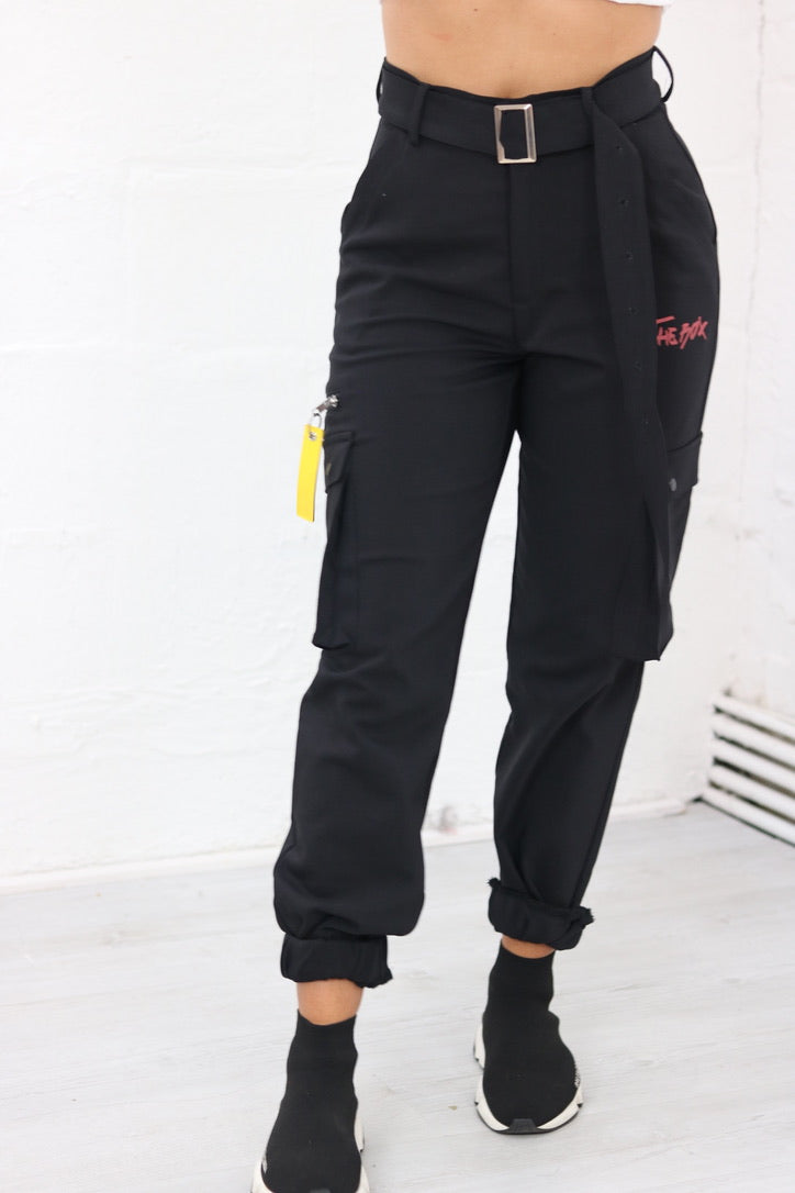 Black Utility Cargo Trousers