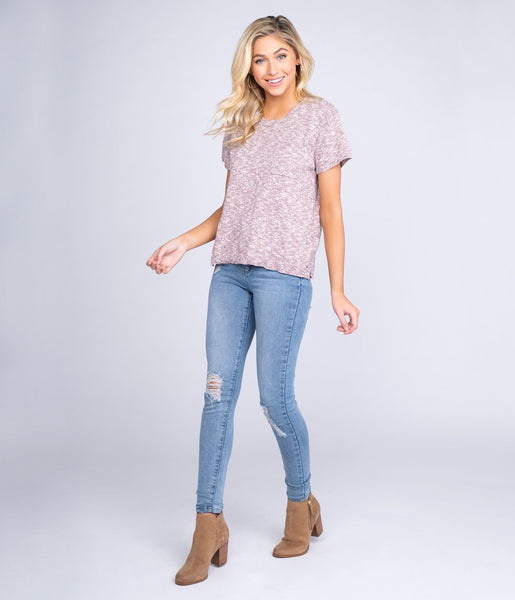 Knitted Boxy Sweater Tee Short Sleeve