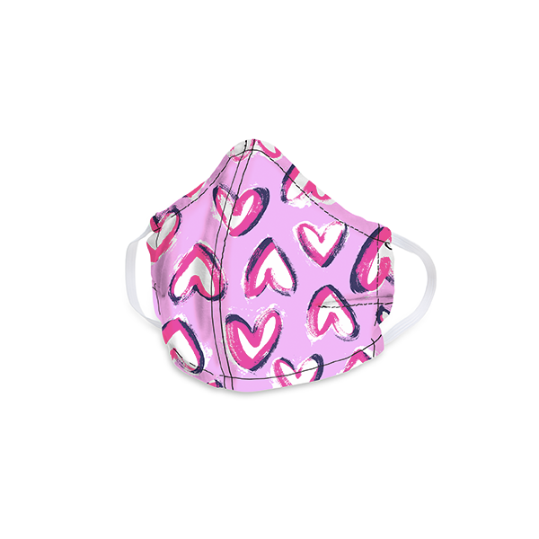 Hearts Iced Pink Cotton Face Mask