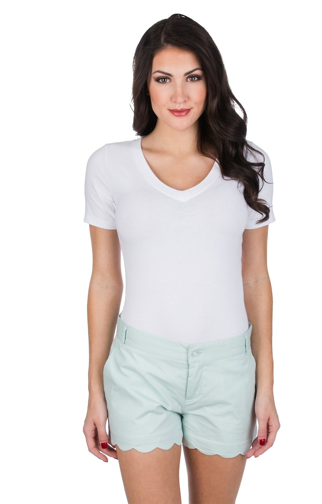 Scalloped Hem Poplin Shorts