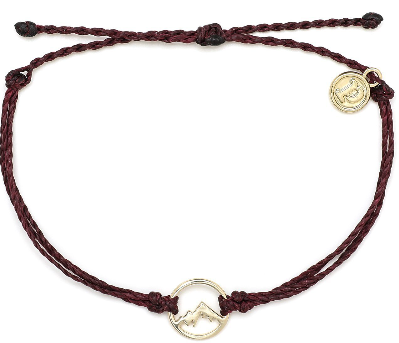 Gold Aspen - Burgundy Bracelet With Gold Charm