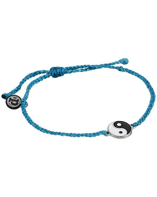 Ying Yang Silver Bracelet Pacific Blue