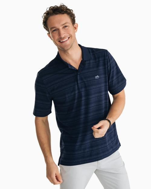 Heathered Stripe Performance Polo