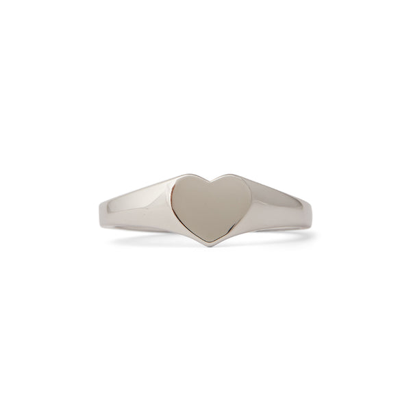 Heart Signet Ring Silver Size 7