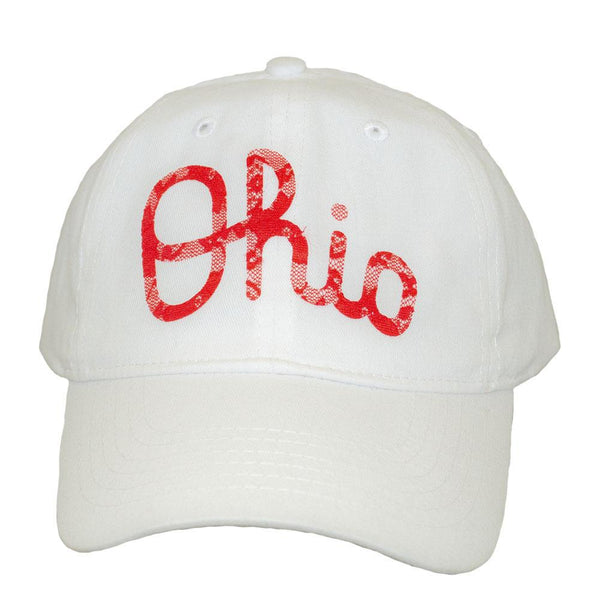 ALABAMA GIRL DISTRESSED OHIO SCRIPT WHITE BASEBALL HAT