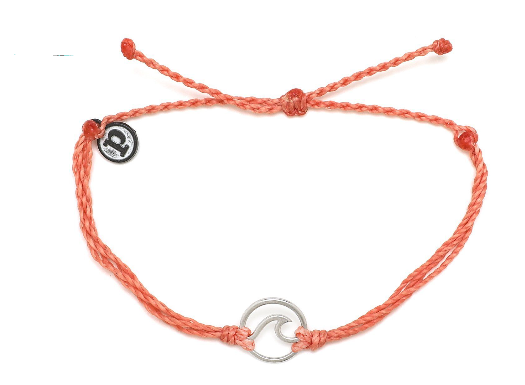 WAVE SALMON BRACELET WITH SILVER CHARM