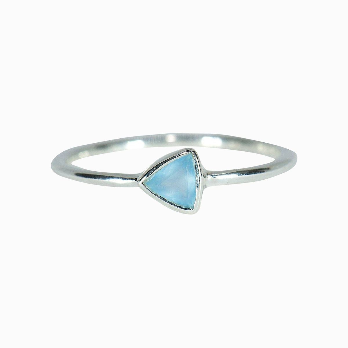 Triangle Chalcedon Ring Silver - Size 6