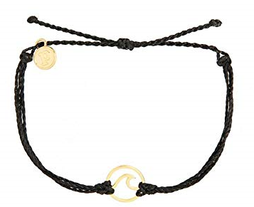 WAVE GOLD - BLACK BRACELET WITH GOLD WAVE CHARM