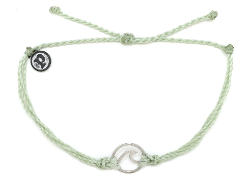 WAVE SILVER BRACELET- MINTY GREEN WITH SILVER CHARM