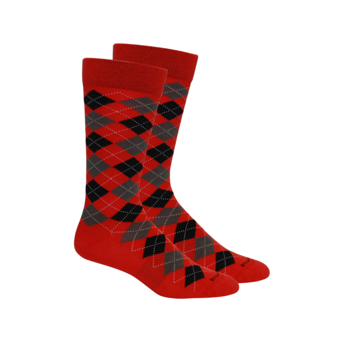 Argyle Black Red Socks