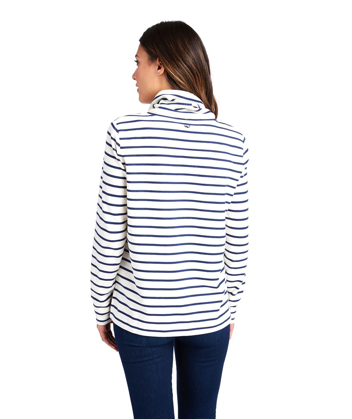 Double Face Striped Relaxed Funnel Neck Shep Shirt