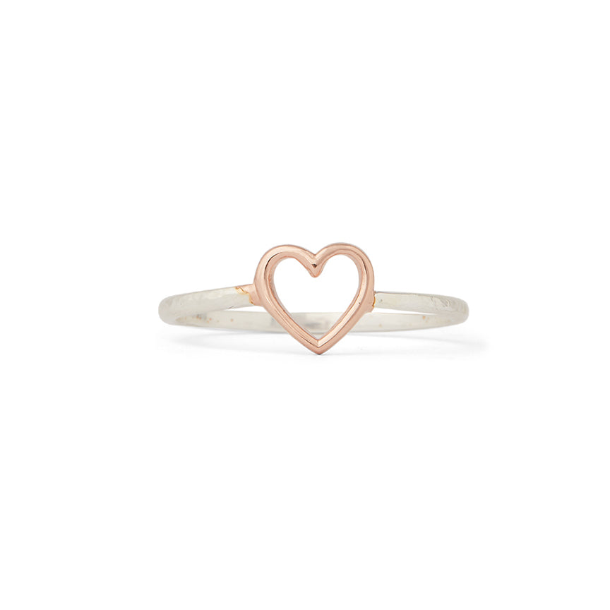 Open Heart Silver Ring Size 6