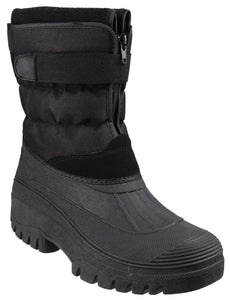Black Chase Touch Fastening and Zip up Winter Boot