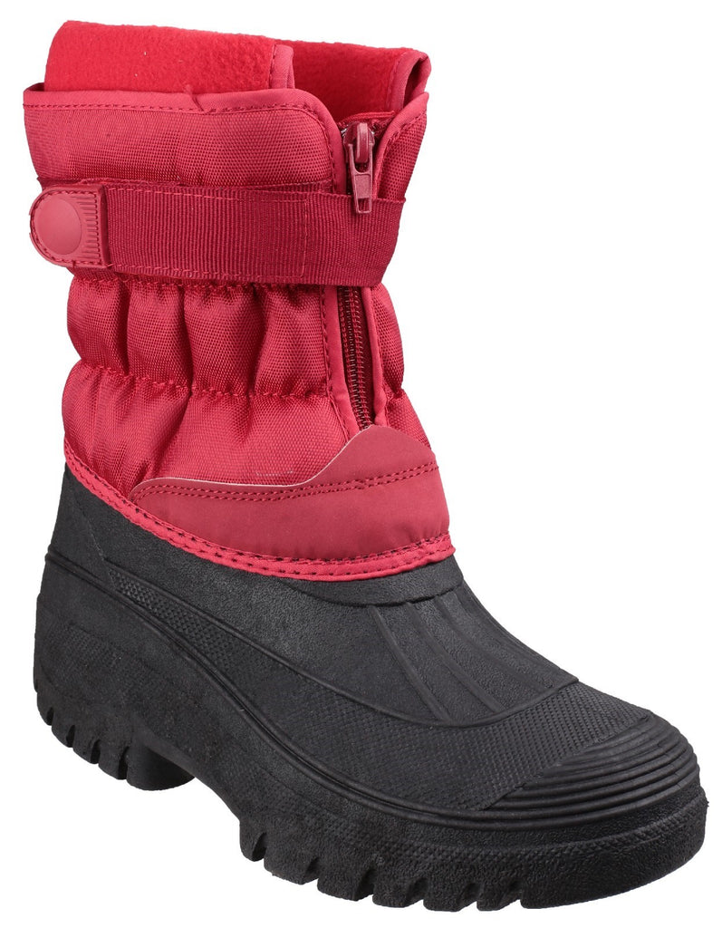 Chase Touch Fastening and Zip up Winter Boot Red