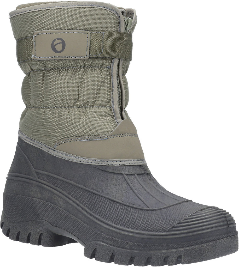 Chase Touch Fastening and Zip up Winter Boot Khaki