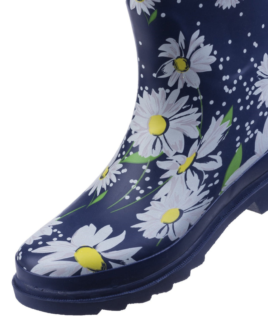 Burghley Waterproof Pull On Wellington Boot Daisy