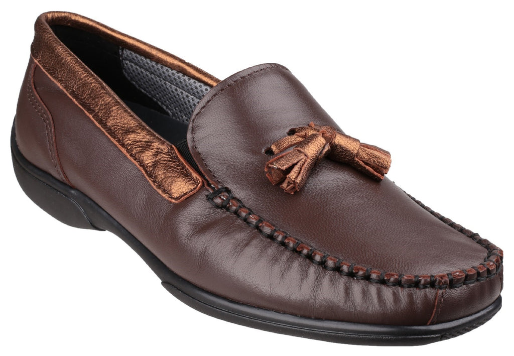 Biddlestone Slip On Loafer Shoe Brown/Gold